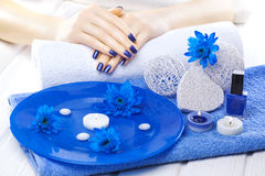 Beautiful blue manicure with chrysanthemum and towel on the white wooden table. spa Royalty Free Stock Images