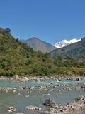 Beautiful blue Marsyangdi River, Nepal Stock Photo