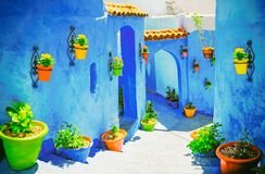 Beautiful blue medina of Chefchaouen city in Morocco, North Afri Stock Photos