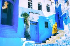 Beautiful blue medina of Chefchaouen city in Morocco, North Afri Stock Image