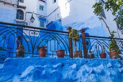Beautiful blue medina of Chefchaouen city in Morocco, Africa. Stock Photos
