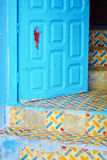 Beautiful blue medina of Chefchaouen, Morocco. Blue door and doorstep in Medina of Chefchaouen, Morocco, small town in northwest Morocco known for its blue Royalty Free Stock Photos