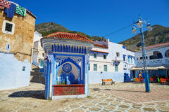 Beautiful blue medina of Chefchaouen, Morocco. Square in Medina of Chefchaouen, Morocco, small town in northwest Morocco known for its blue buildings Stock Photos