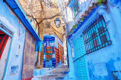 Beautiful blue medina of Chefchaouen, Morocco. Street in Medina of Chefchaouen, Morocco, small town in northwest Morocco known for its blue buildings Stock Photo