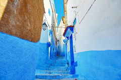 Beautiful blue medina of Chefchaouen, Morocco. Street in Medina of Chefchaouen, Morocco, small town in northwest Morocco known for its blue buildings Stock Photos