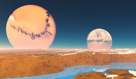 Distant Origins Planet. Beautiful blue methane rivers flow on this alien planet with two moons royalty free illustration