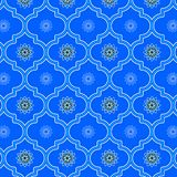 Beautiful blue monochromic decorated Moroccan seamless pattern. With cute floral designs for textile, fabric, backgrounds, decoration, wallpaper, backdrop & vector illustration