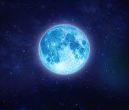 Beautiful blue moon on sky and star at night. Outdoors at night. Stock Image
