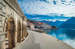 Beautiful blue morning in Perast old town Royalty Free Stock Images