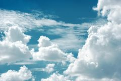 beautiful blue night sky with large clouds stock images