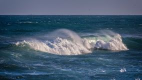 Beautiful Blue Ocean Waves in Spain Royalty Free Stock Photo