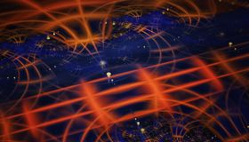 Beautiful blue and orange background of glowing particles and lines with depth of field and bokeh. 3d illustration, 3d Royalty Free Stock Image
