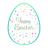 Beautiful blue outline easter egg with colored dots Stock Photo