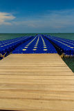 Beautiful blue pontoon made from plastic floating in the sea, ro Stock Image