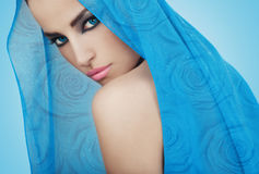 Beautiful blue princess. Beautiful girl with blue eyes, romantic style beauty portrait Royalty Free Stock Images