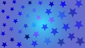 Beautiful blue-purple stars of different colors on a blue background stock illustration