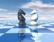 Beautiful blue, reflective abstract background with chess horses. White and black, chessboard and sky vector illustration