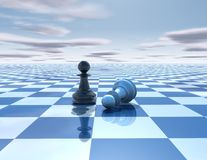Beautiful blue, reflective abstract background with chess pawns. White and black, chessboard and sky stock illustration
