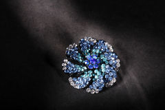 Beautiful blue rhinestone brooch Royalty Free Stock Photography