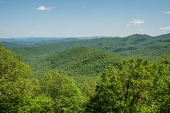 Beautiful Blue Ridge Parkway vista, North Carolina. Beautiful Blue Ridge Parkway vista in springtime, North Carolina stock photography