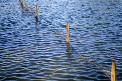 Beautiful Blue Rippling Waters with Wooden Fence Post. Wooden Fence Post and plastic net reflected in the water royalty free stock photos