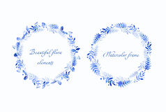 Beautiful blue round frames of  bilberry    and leaves. Royalty Free Stock Photography