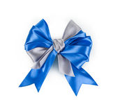 Beautiful blue satin gift bow Stock Photo