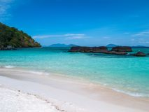 Beautiful blue sea beach at Trat Thailand. Impression island on holiday travel stock images