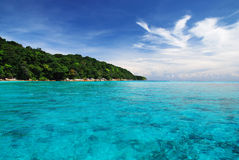 Beautiful blue sea and blue sky from tachai island in Thailand Stock Images