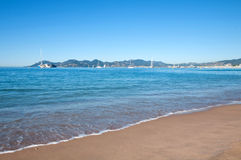 Beautiful blue sea on a bright sunny summer day in Cannes, France Royalty Free Stock Photos