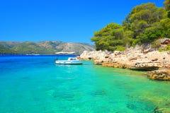 Beautiful blue sea, Island Hvar in Croatia Royalty Free Stock Photo