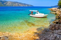 Beautiful blue sea, Island Hvar in Croatia Stock Photos