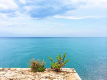 Beautiful blue sea of Peniscola, Spain Royalty Free Stock Photography