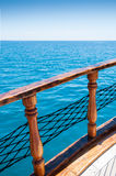 Beautiful blue sea and the ship. Sea ​​view from the deck of the ship Royalty Free Stock Photos