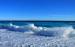 Beautiful blue sea wave. Cote d`azur, Mediterranean sea royalty free stock image