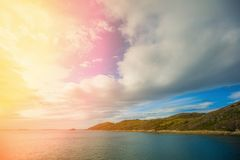 Beautiful blue seascape with dramatic cloudy sky. Wild nature of Norway Stock Photography