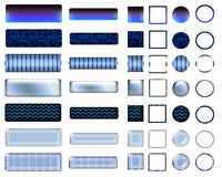 A beautiful blue selection of website buttons in different shapes. A colorful blue selection of buttons to add to your website on the internet Stock Photo