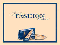Beautiful blue shoes with clutches on  background Royalty Free Stock Photo