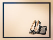 Beautiful blue shoes with clutches on  background Stock Photography