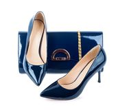 Beautiful blue shoes with clutches Royalty Free Stock Photo