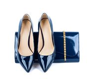 Beautiful  blue shoes with clutches Stock Photo
