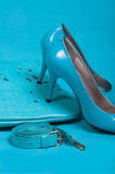 Beautiful blue shoes and handbag Stock Photos