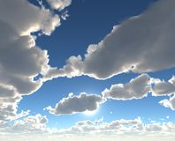 Beautiful blue skies. With fluffy floating clouds stock illustration