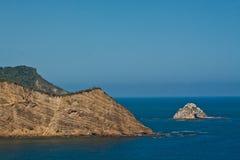 Beautiful blue skies and ocean around Salango. Island, Manabi, Ecuador royalty free stock photography