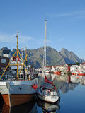 Beautiful blue skies and water in Henningsvaer Stock Photography