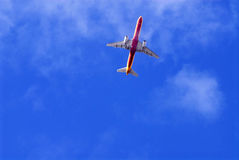 Aircraft and Beautiful Blue Sky, Holidays, Travel Royalty Free Stock Photos