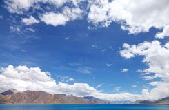 Beautiful blue sky and blue Pangong Lake, HDR Stock Photos