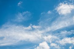Beautiful blue sky with cloud and copy space.  stock photography