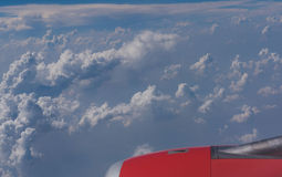 Beautiful blue sky and cloud view from an airplane window. background Royalty Free Stock Image