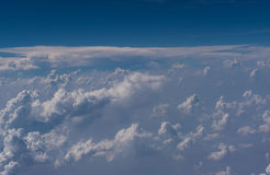 Beautiful blue sky and cloud view from an airplane window. background Royalty Free Stock Photography